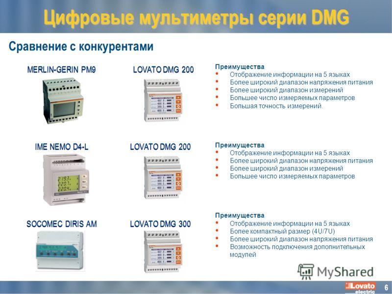 6 Сравнение с конкурентами Цифровые мультиметры серии DMG SOCOMEC DIRIS AM LOVATO DMG 200 Преимущества Отображение информации на 5 языках Более широкий диапазон напряжения питания Более широкий диапазон измерений Большее число измеряемых параметров Б