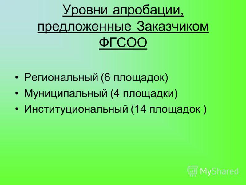 Уровни апробации, предложенные Заказчиком ФГСОО Региональный (6 площадок) Муниципальный (4 площадки) Институциональный (14 площадок )