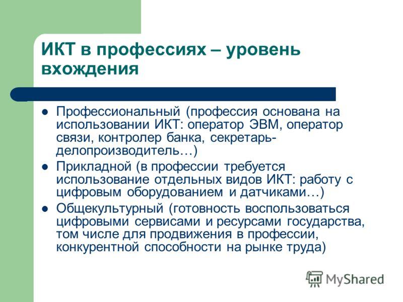 ИКТ в профессиях – уровень вхождения Профессиональный (профессия основана на использовании ИКТ: оператор ЭВМ, оператор связи, контролер банка, секретарь- делопроизводитель…) Прикладной (в профессии требуется использование отдельных видов ИКТ: работу