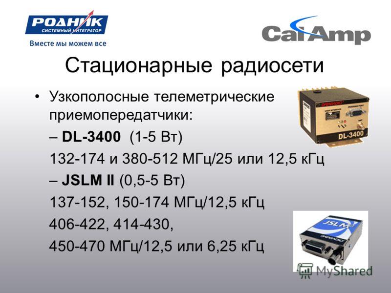 Стационарные радиосети Узкополосные телеметрические приемопередатчики: – DL-3400 (1-5 Вт) 132-174 и 380-512 МГц/25 или 12,5 кГц – JSLM II (0,5-5 Вт) 137-152, 150-174 МГц/12,5 кГц 406-422, 414-430, 450-470 МГц/12,5 или 6,25 кГц