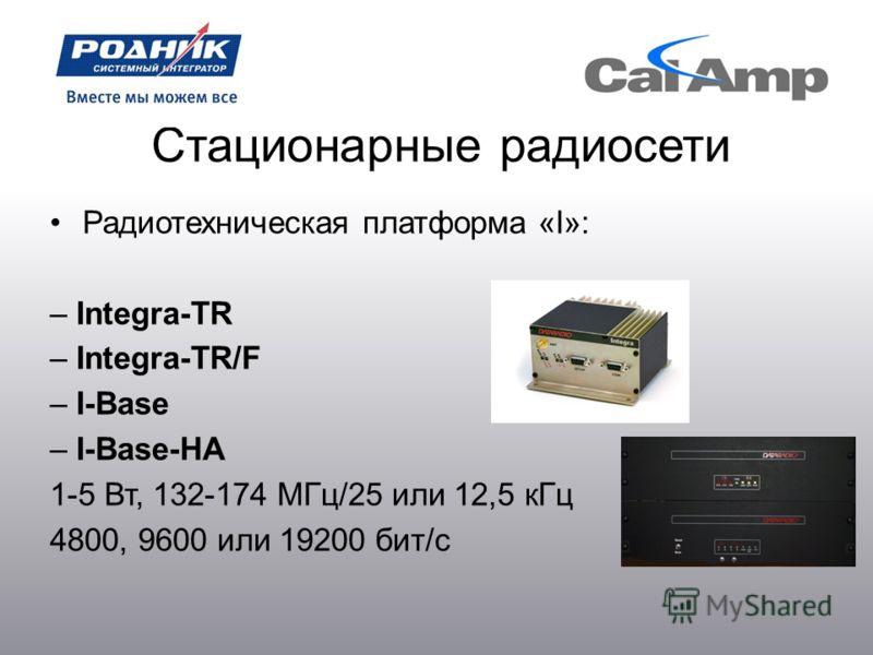 Стационарные радиосети Радиотехническая платформа «I»: – Integra-TR – Integra-TR/F – I-Base – I-Base-HA 1-5 Вт, 132-174 МГц/25 или 12,5 кГц 4800, 9600 или 19200 бит/с