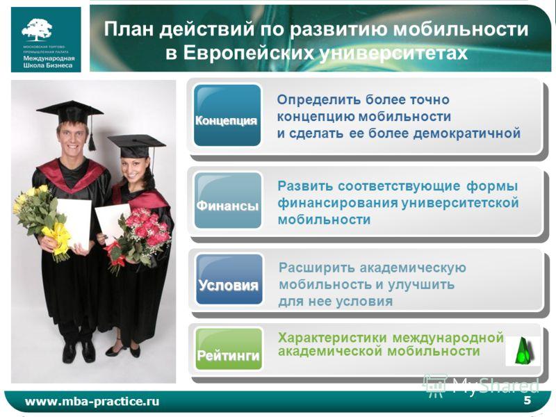 5 www.mba-practice.ru План действий по развитию мобильности в Европейских университетах Концепция Определить более точно концепцию мобильности и сделать ее более демократичной Финансы Развить соответствующие формы финансирования университетской мобил