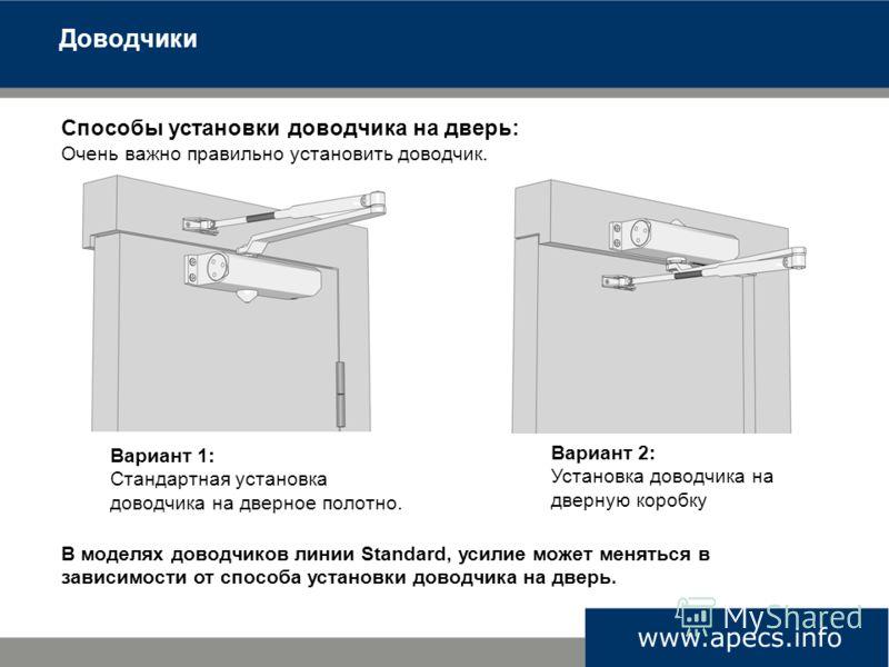 Способы установки доводчика на дверь: Очень важно правильно установить доводчик. Вариант 1: Стандартная установка доводчика на дверное полотно. Вариант 2: Установка доводчика на дверную коробку В моделях доводчиков линии Standard, усилие может менять