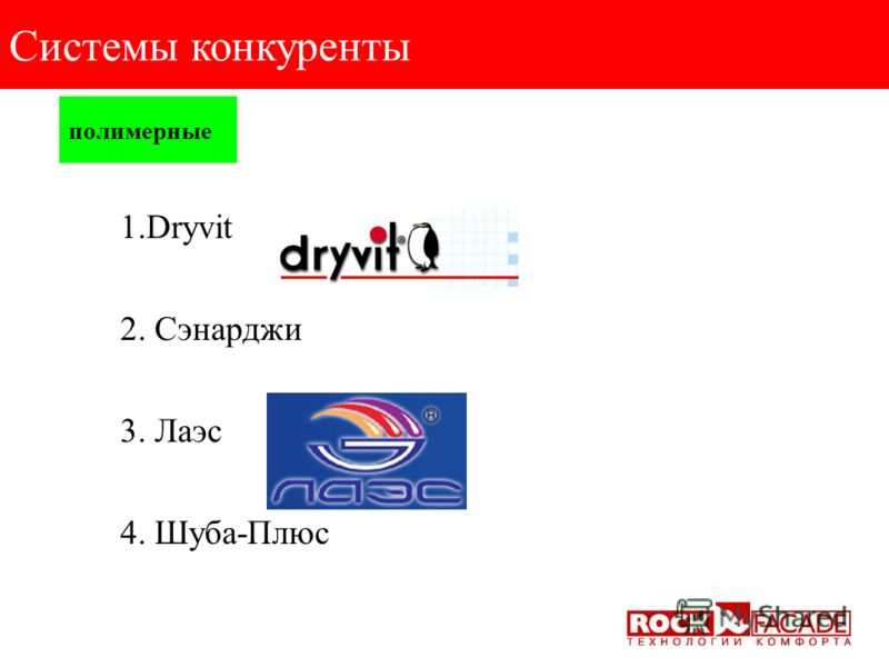 минеральные Системы конкуренты 1.Ceresit; 2.Tex-Color; 3.Bau-Color; 4.Alsecco; 5.Capatect; 6.Relius; 7. Kreisel 8. Alligator 9. TermoKreps; 10. Синтеко; 11. Atlas; 12. Thermomax; 13. Русхекк-Тисс; 14. Baumit; 15. Knauf; 16. Stomix; 17.Terraco; 18. Ba