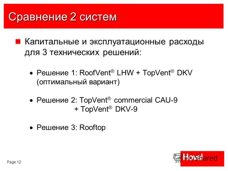 Page 12 Сравнение 2 систем Капитальные и эксплуатационные расходы для 3 технических решений: Решение 1: RoofVent ® LHW + TopVent ® DKV (оптимальный вариант) Решение 2: TopVent ® commercial CAU-9 + TopVent ® DKV-9 Решение 3: Rooftop