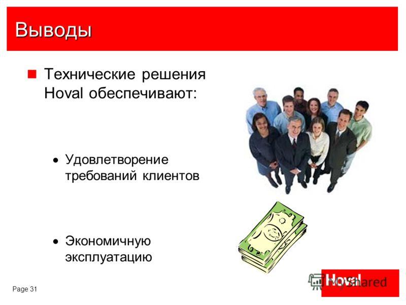 Page 31 Выводы Технические решения Hoval обеспечивают: Удовлетворение требований клиентов Экономичную эксплуатацию