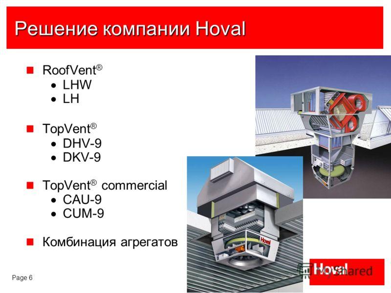 Page 6 Решение компании Hoval RoofVent ® LHW LH TopVent ® DHV-9 DKV-9 TopVent ® commercial CAU-9 CUM-9 Комбинация агрегатов
