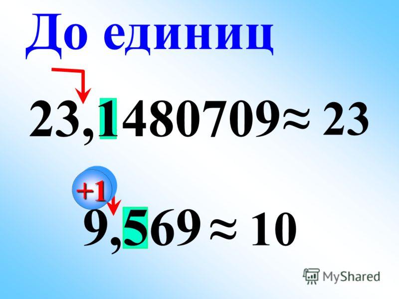 23,1480709 23 9,569 10 До единиц +1+1