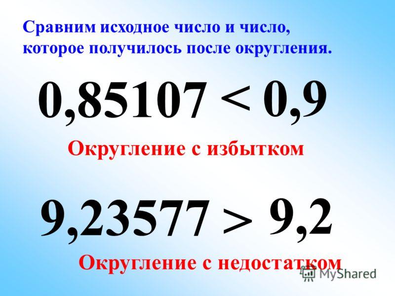 9,23577 0,9 0,85107 9,2 Сравним исходное число и число, которое получилось после округления. Округление с недостатком < > Округление с избытком
