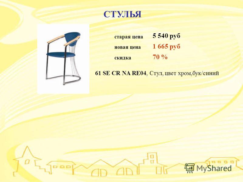 СТУЛЬЯ старая цена 5 540 руб новая цена 1 665 руб скидка 70 % 61 SE CR NA RE04, Стул, цвет хром,бук/синий