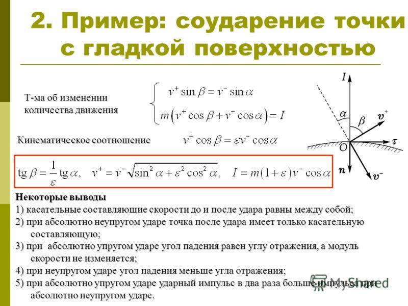 2. Пример: соударение точки с гладкой поверхностью Т-ма об изменении количества движения Кинематическое соотношение Некоторые выводы 1) касательные составляющие скорости до и после удара равны между собой; 2) при абсолютно неупругом ударе точка после
