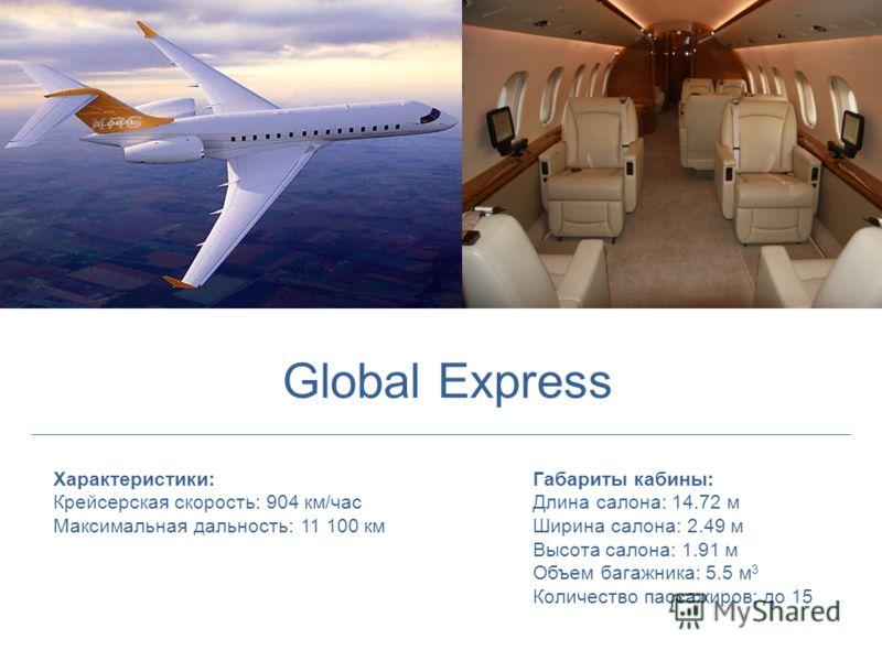 Характеристики: Крейсерская скорость: 904 км/час Максимальная дальность: 11 100 км Габариты кабины: Длина салона: 14.72 м Ширина салона: 2.49 м Высота салона: 1.91 м Объем багажника: 5.5 м 3 Количество пассажиров: до 15 Global Express