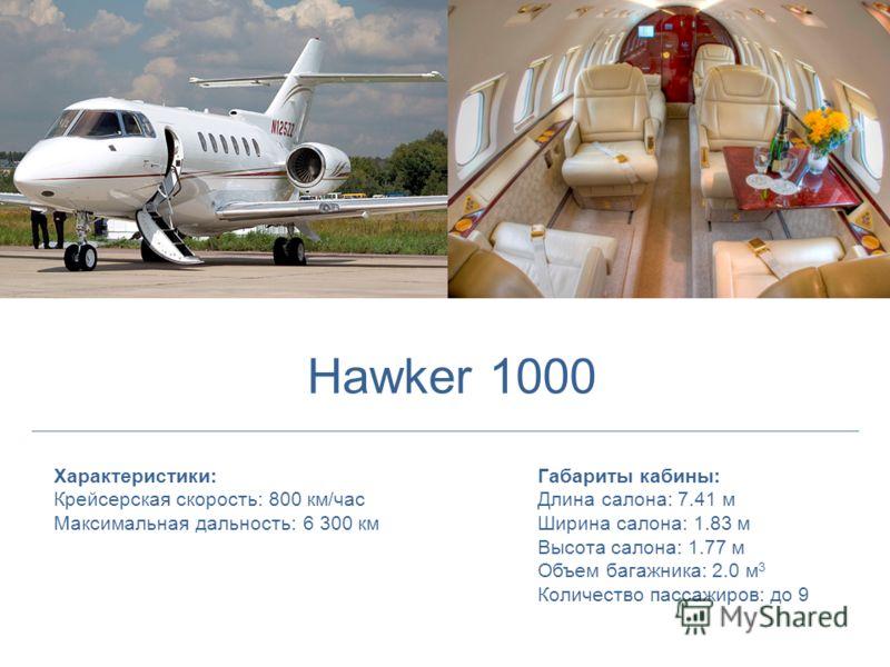 Характеристики: Крейсерская скорость: 800 км/час Максимальная дальность: 6 300 км Габариты кабины: Длина салона: 7.41 м Ширина салона: 1.83 м Высота салона: 1.77 м Объем багажника: 2.0 м 3 Количество пассажиров: до 9 Hawker 1000