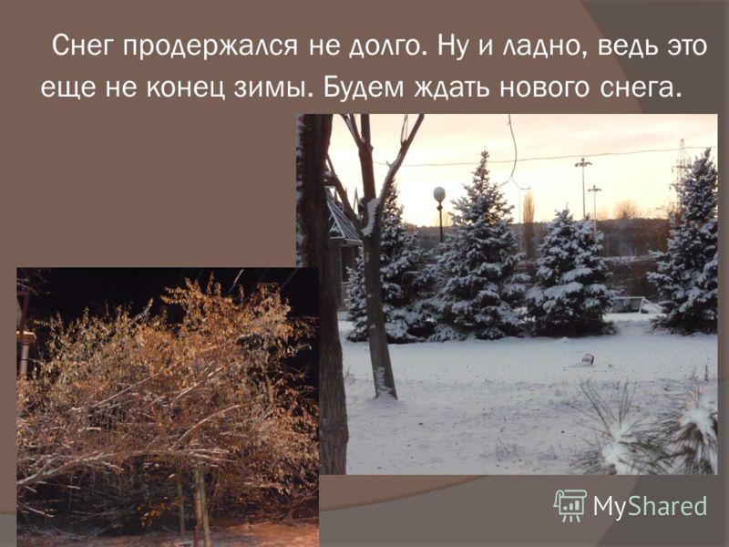 Снег продержался не долго. Ну и ладно, ведь это еще не конец зимы. Будем ждать нового снега.