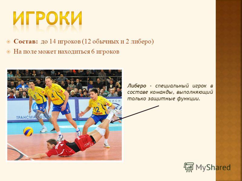 Состав: до 14 игроков (12 обычных и 2 либеро) На поле может находиться 6 игроков Либеро - специальный игрок в составе команды, выполняющий только защитные функции.