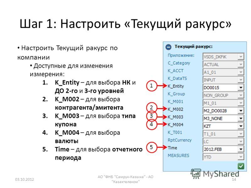 Шаг 1: Настроить «Текущий ракурс» 09.08.2012 АО