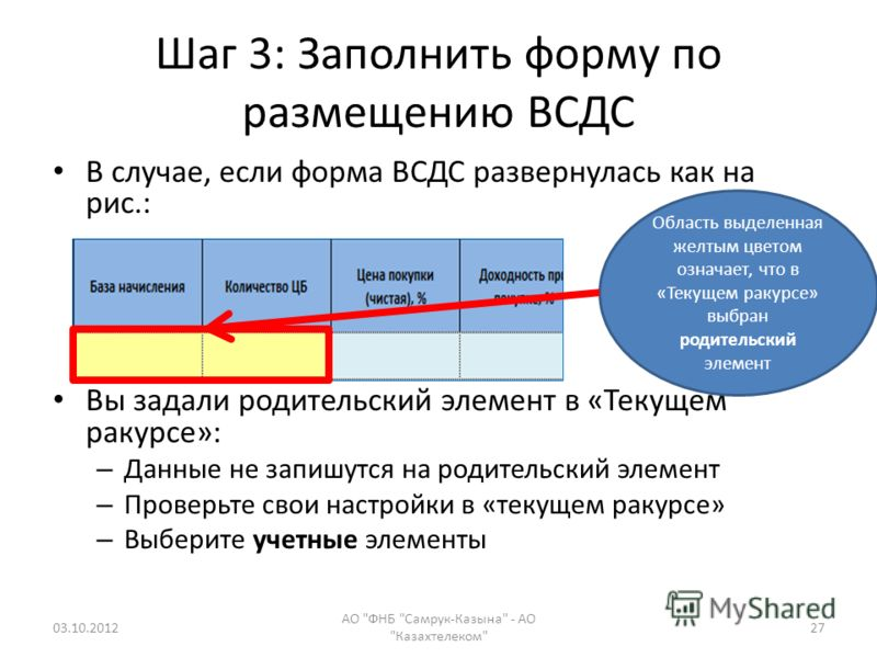 Шаг 3: Заполнить форму по размещению ВСДС В случае, если форма ВСДС развернулась как на рис.: Вы задали родительский элемент в «Текущем ракурсе»: – Данные не запишутся на родительский элемент – Проверьте свои настройки в «текущем ракурсе» – Выберите