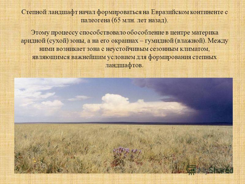 Степной ландшафт начал формироваться на Евразийском континенте с палеогена (65 млн. лет назад). Этому процессу способствовало обособление в центре материка аридной (сухой) зоны, а на его окраинах – гумидной (влажной). Между ними возникает зона с неус