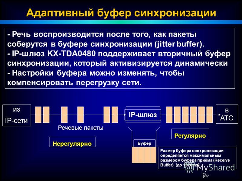 P Адаптивный буфер синхронизации в АТС из IP-сети Речевые пакеты IP-шлюз - Речь воспроизводится после того, как пакеты соберутся в буфере синхронизации (jitter buffer). - IP-шлюз KX-TDA0480 поддерживает вторичный буфер синхронизации, который активизи
