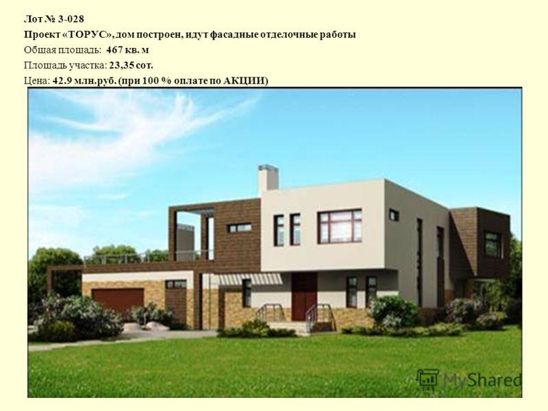 Лот 3-028 Проект «ТОРУС», дом построен, идут фасадные отделочные работы Общая площадь: 467 кв. м Площадь участка: 23,35 сот. Цена: 42.9 млн.руб. (при 100 % оплате по АКЦИИ)