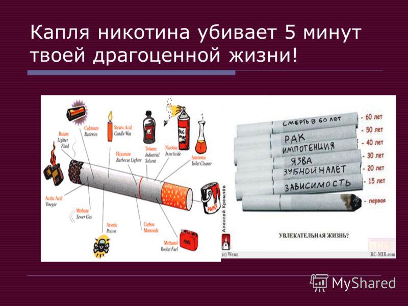 Капля никотина убивает 5 минут твоей драгоценной жизни!