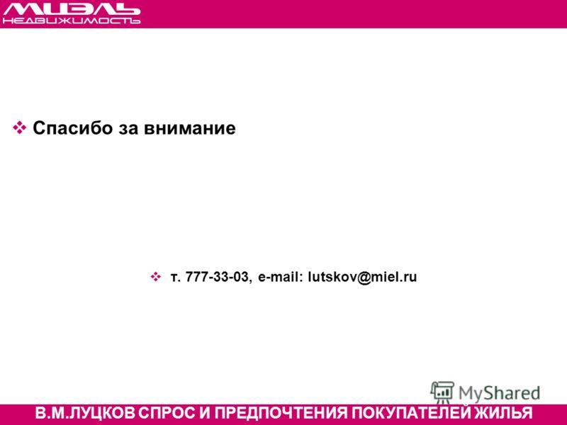 МАСТЕР-КЛАСС В.М.ЛУЦКОВ СПРОС И ПРЕДПОЧТЕНИЯ ПОКУПАТЕЛЕЙ ЖИЛЬЯ Спасибо за внимание т. 777-33-03, e-mail: lutskov@miel.ru