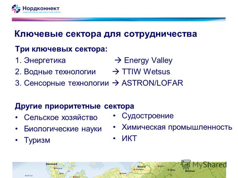 Ключевые сектора для сотрудничества Три ключевых сектора: 1.Энергетика Energy Valley 2.Водные технологии TTIW Wetsus 3.Сенсорные технологии ASTRON/LOFAR Другие приоритетные сектора Сельское хозяйство Биологические науки Туризм Судостроение Химическая
