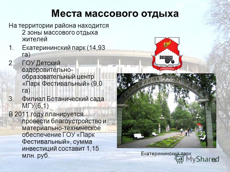 16 Места массового отдыха На территории района находится 2 зоны массового отдыха жителей 1.Екатерининский парк (14,93 га) 2.ГОУ Детский оздоровительно- образовательный центр «Парк Фестивальный» (9,0 га) 3.Филиал Ботанический сада МГУ(6,1) В 2011 году