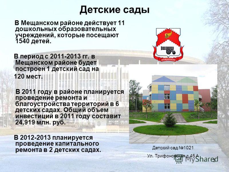 3 Детские сады В Мещанском районе действует 11 дошкольных образовательных учреждений, которые посещают 1540 детей. В период с 2011-2013 гг. в Мещанском районе будет построен 1 детский сад на 120 мест. В 2011 году в районе планируется проведение ремон
