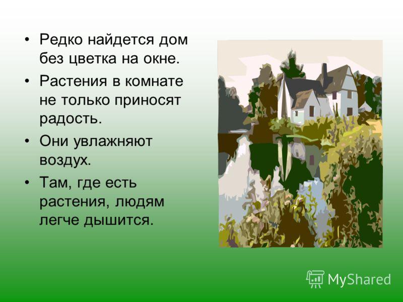 Редко найдется дом без цветка на окне. Растения в комнате не только приносят радость. Они увлажняют воздух. Там, где есть растения, людям легче дышится.