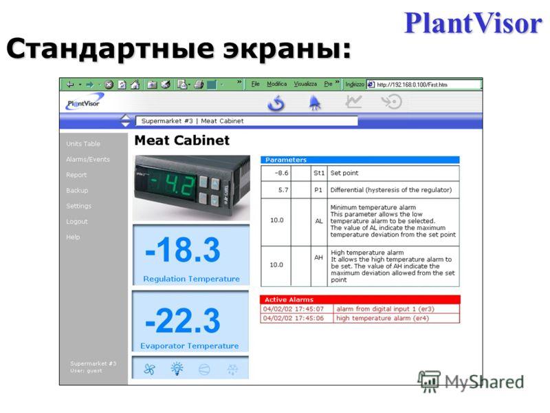 Cтандартные экраны: PlantVisor
