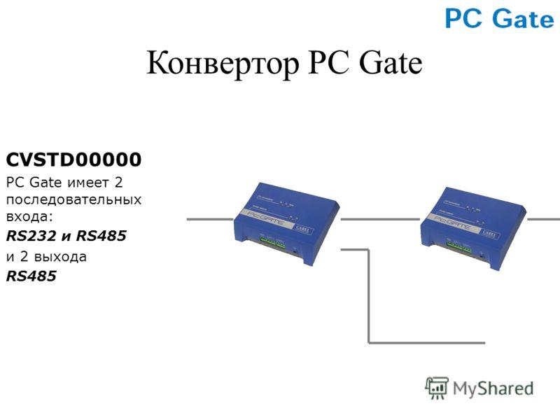 CVSTD00000 PC Gate имеет 2 последовательных входа: RS232 и RS485 и 2 выхода RS485 Конвертор PC Gate