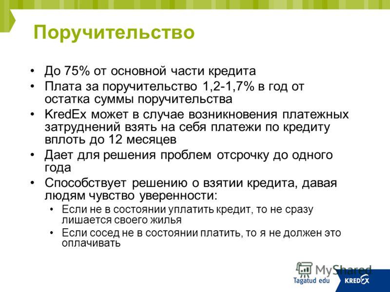 Поручительство До 75% от основной части кредита Плата за поручительство 1,2-1,7% в год от остатка суммы поручительства KredEx может в случае возникновения платежных затруднений взять на себя платежи по кредиту вплоть до 12 месяцев Дает для решения пр