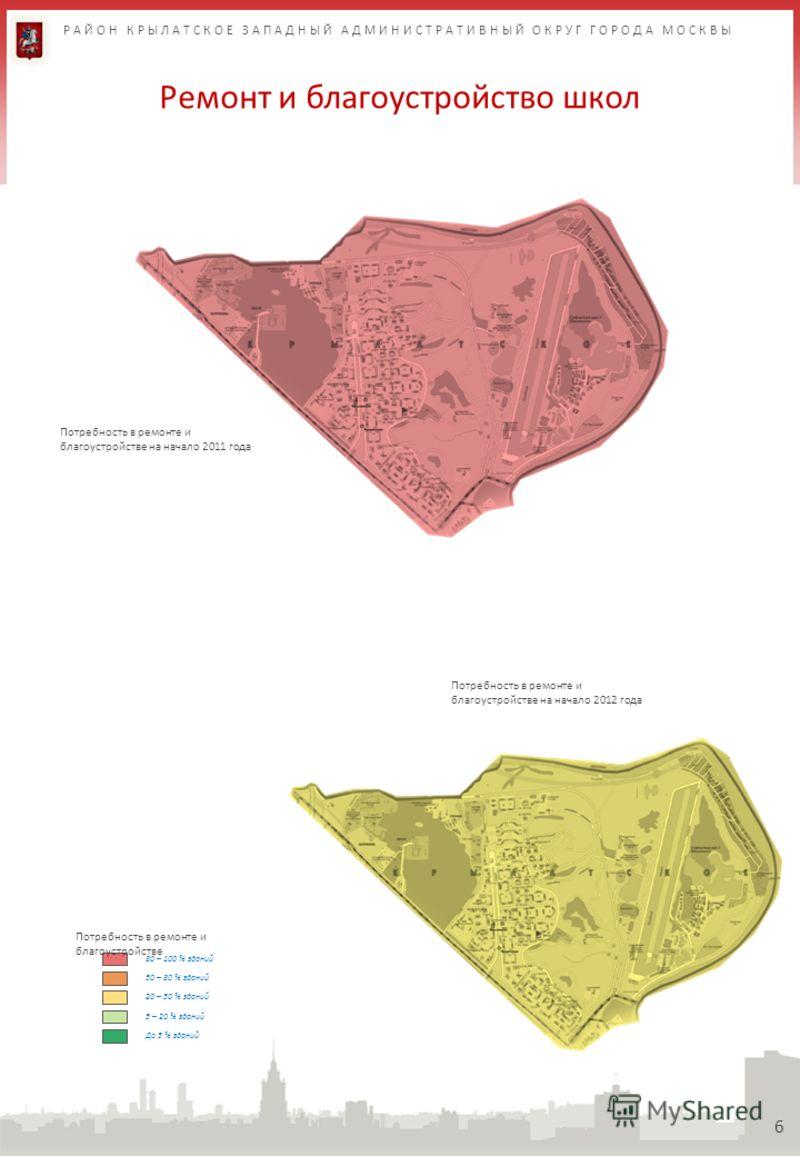 Ремонт и благоустройство школ 6 80 – 100 % зданий 50 – 80 % зданий 20 – 50 % зданий 5 – 20 % зданий Потребность в ремонте и благоустройстве До 5 % зданий Потребность в ремонте и благоустройстве на начало 2011 года Потребность в ремонте и благоустройс
