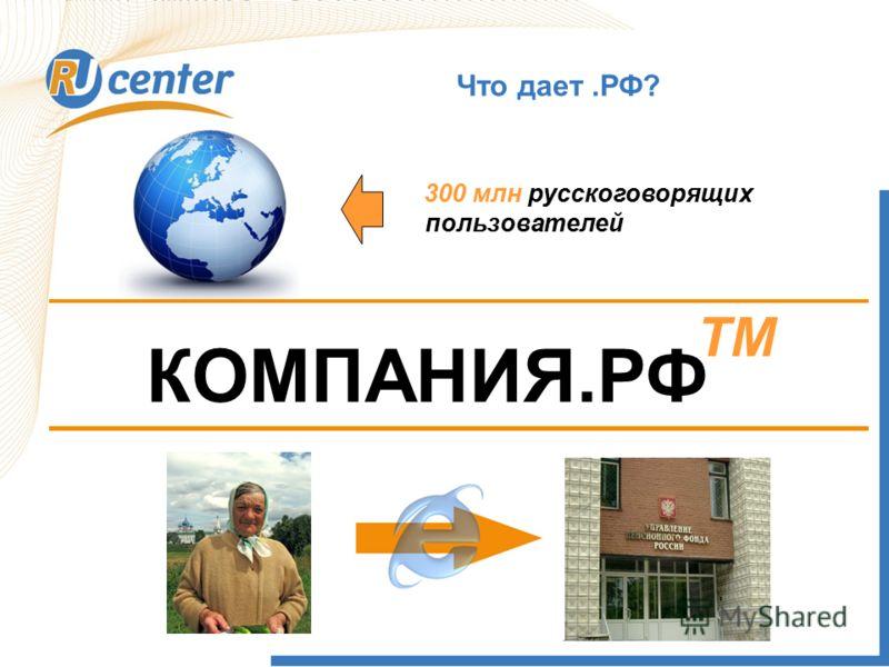 Что дает.РФ? 300 млн русскоговорящих пользователей КОМПАНИЯ.РФ TM