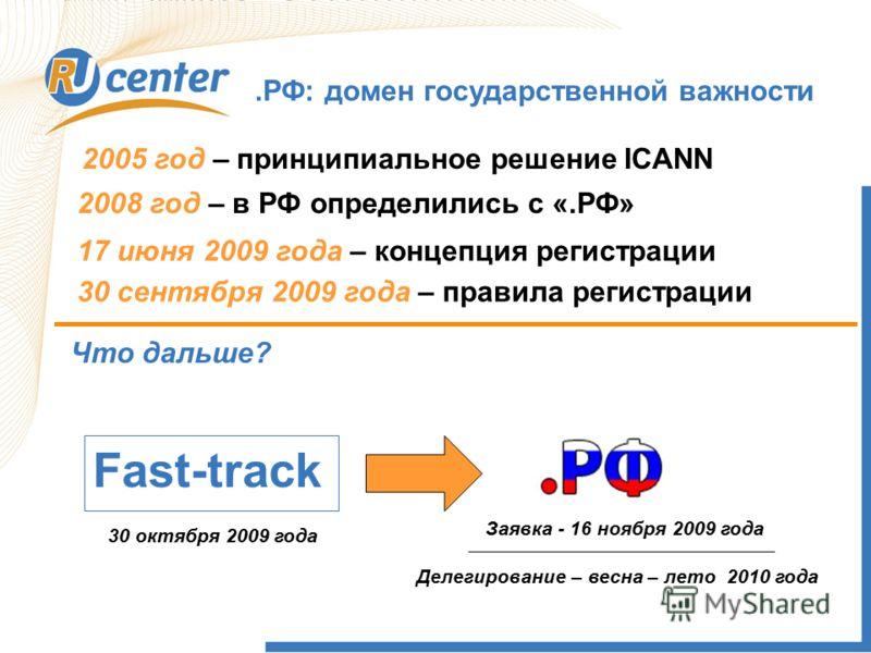 .РФ: домен государственной важности 2005 год – принципиальное решение ICANN 2008 год – в РФ определились с «.РФ» Что дальше? Fast-track 30 октября 2009 года 17 июня 2009 года – концепция регистрации Заявка - 16 ноября 2009 года Делегирование – весна
