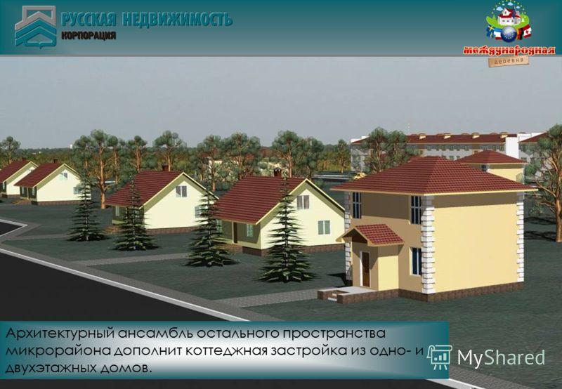 Архитектурный ансамбль остального пространства микрорайона дополнит коттеджная застройка из одно- и двухэтажных домов.