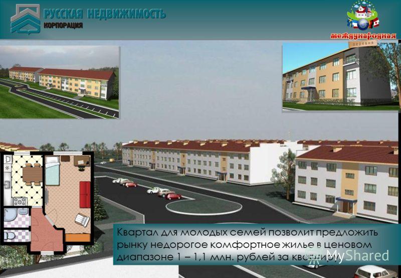 Квартал для молодых семей позволит предложить рынку недорогое комфортное жилье в ценовом диапазоне 1 – 1,1 млн. рублей за квартиру.