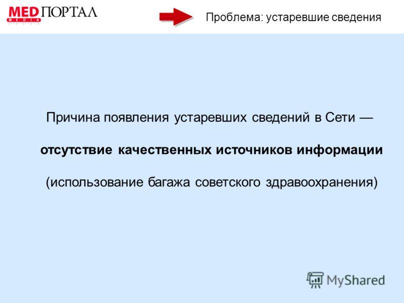 Проблема: устаревшие сведения Причина появления устаревших сведений в Сети отсутствие качественных источников информации (использование багажа советского здравоохранения)