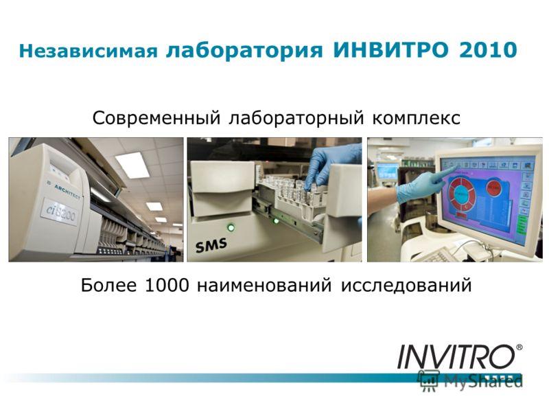 Независимая лаборатория ИНВИТРО 2010 Современный лабораторный комплекс Более 1000 наименований исследований