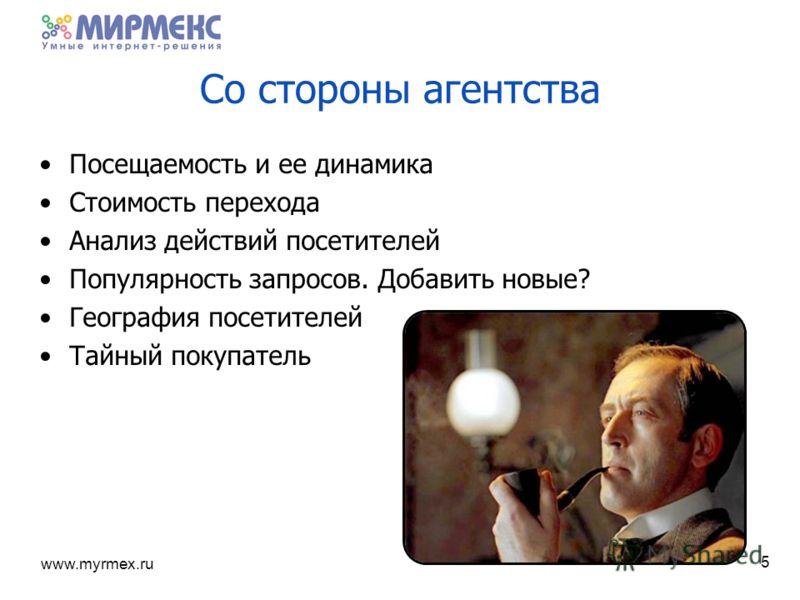 www.myrmex.ru 5 Со стороны агентства Посещаемость и ее динамика Стоимость перехода Анализ действий посетителей Популярность запросов. Добавить новые? География посетителей Тайный покупатель