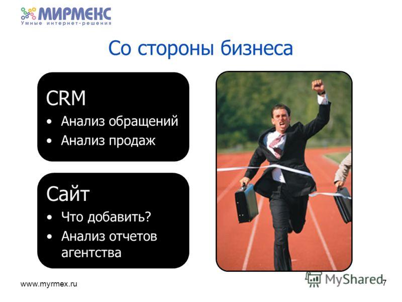 www.myrmex.ru Со стороны бизнеса 7 СRM Анализ обращений Анализ продаж Сайт Что добавить? Анализ отчетов агентства