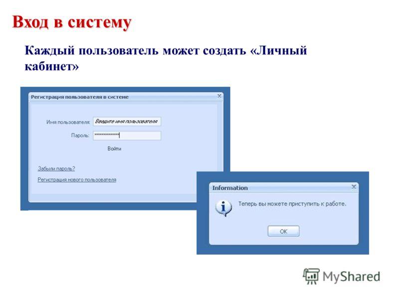 Вход в систему Каждый пользователь может создать «Личный кабинет»