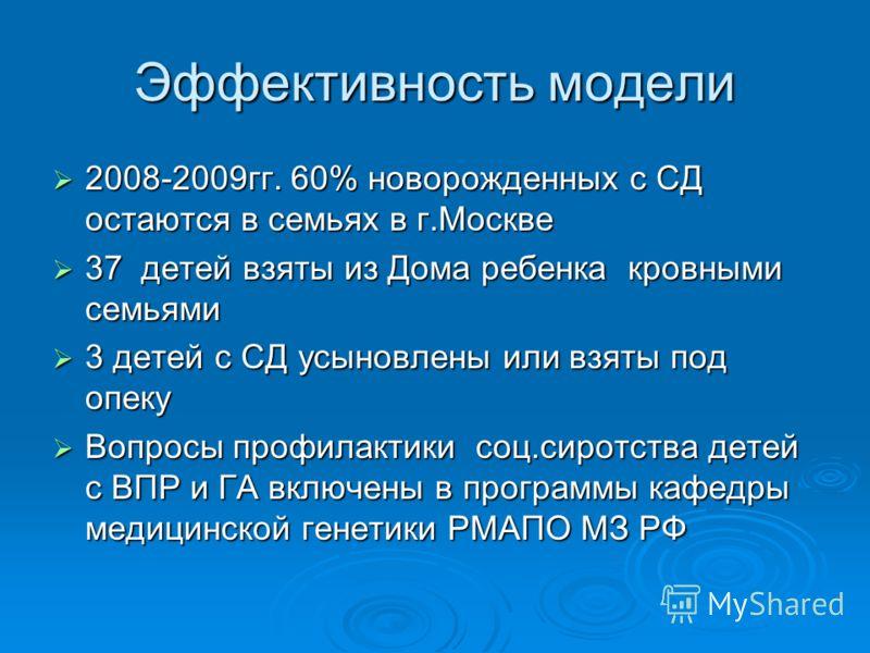 Эффективность модели 2008-2009гг. 60% новорожденных с СД остаются в семьях в г.Москве 2008-2009гг. 60% новорожденных с СД остаются в семьях в г.Москве 37 детей взяты из Дома ребенка кровными семьями 37 детей взяты из Дома ребенка кровными семьями 3 д