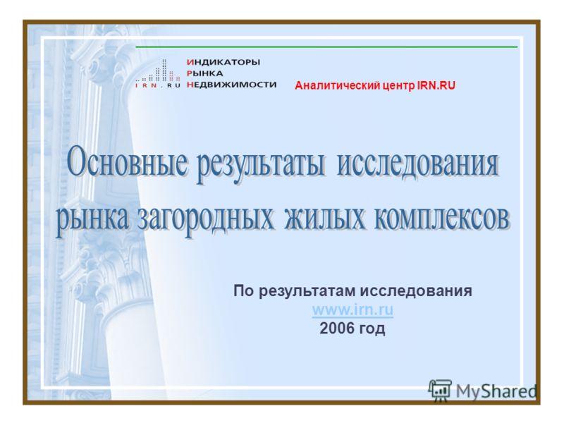 Аналитический центр IRN.RU По результатам исследования www.irn.ru www.irn.ru 2006 год