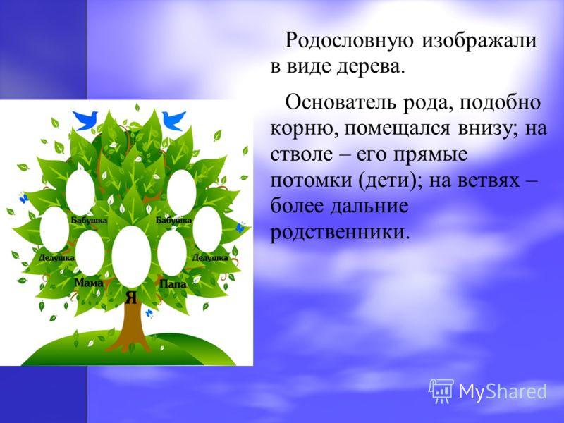 Родословную изображали в виде дерева. Основатель рода, подобно корню, помещался внизу; на стволе – его прямые потомки (дети); на ветвях – более дальние родственники.