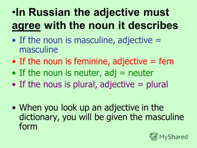 In Russian the adjective must agree with the noun it describes If the noun is masculine, adjective = masculine If the noun is feminine, adjective = fem If the noun is neuter, adj = neuter If the nous is plural, adjective = plural When you look up an