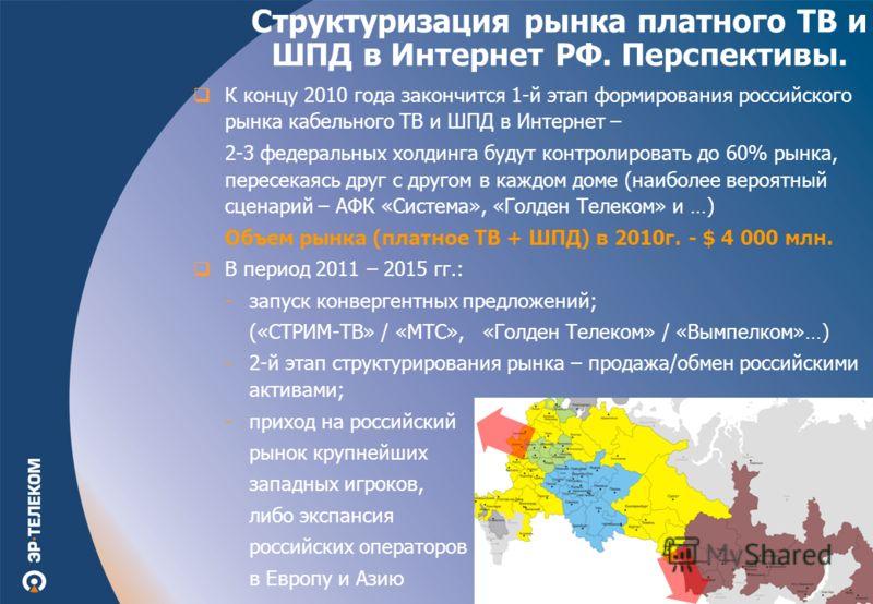 К концу 2010 года закончится 1-й этап формирования российского рынка кабельного ТВ и ШПД в Интернет – 2-3 федеральных холдинга будут контролировать до 60% рынка, пересекаясь друг с другом в каждом доме (наиболее вероятный сценарий – АФК «Система», «Г