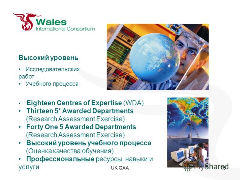 UK QAA15 Eighteen Centres of Expertise (WDA) Thirteen 5* Awarded Departments (Research Assessment Exercise) Forty One 5 Awarded Departments (Research Assessment Exercise) Высокий уровень учебного процесса (Оценка качества обучения) Профессиональные р