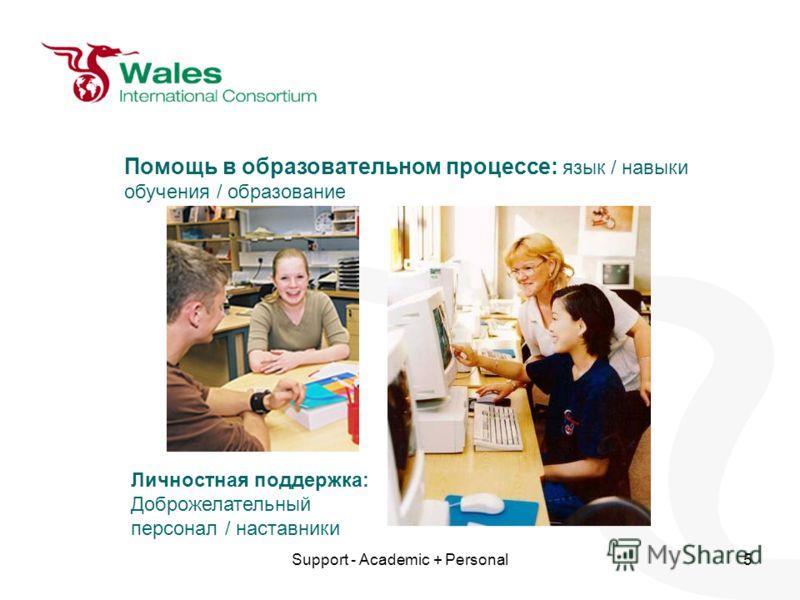 Support - Academic + Personal5 Помощь в образовательном процессе: язык / навыки обучения / образование Личностная поддержка: Доброжелательный персонал / наставники